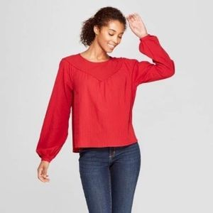 Universal Thread Red Yoke Textured Cotton Blouse